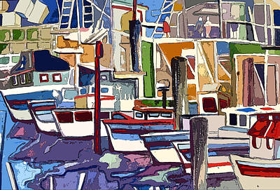 Boat Marina Art Print by Mindy Newman