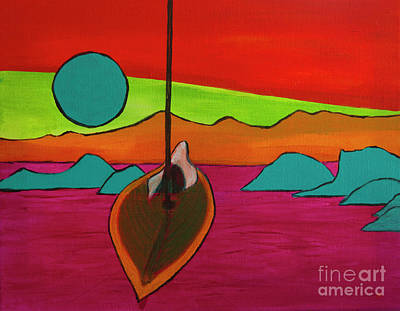 Painting - Boat Moonrise by Jeanette French