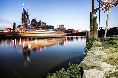 Photograph - Boat Moving Along The Nashville Skyline by Gregory Ballos