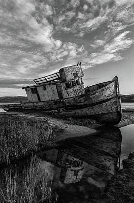 Photograph - boat of Point Reyes bw by Jonathan Nguyen