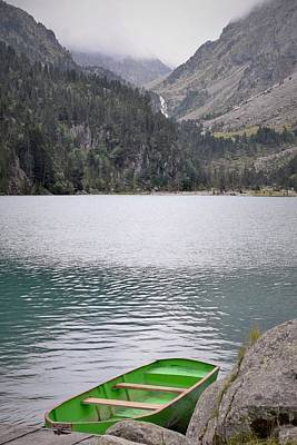 Curated Beach Towels - Boat on a Lake in The Pyrenees by Mark Mitchell