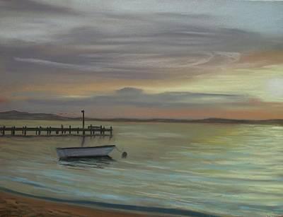 Boat On Bay Art Print by Joan Swanson