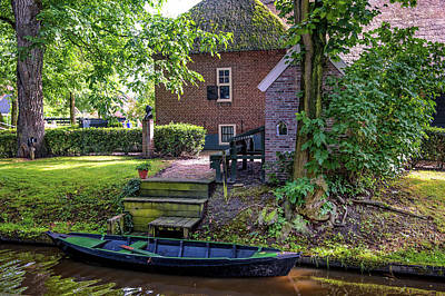 Photograph - Boat On Canal At Cottage In Giethoorn by Jenny Rainbow