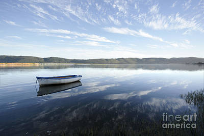 Boat On Knysna Lagoon Art Print by Neil Overy