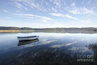 Boat On Knysna Lagoon Print by Neil Overy