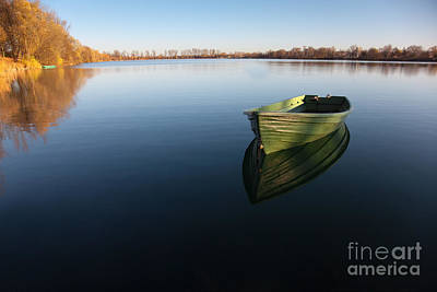 Boat On Lake Art Print