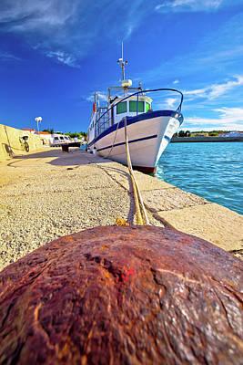 Photograph - Boat On Mooring Bollard In Ugljan Island Village by Brch Photography