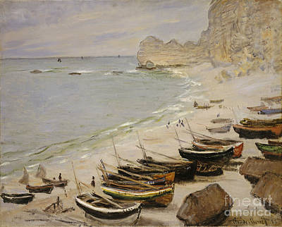 Lying In Wait Painting - Boat On The Beach At Etretat by Celestial Images