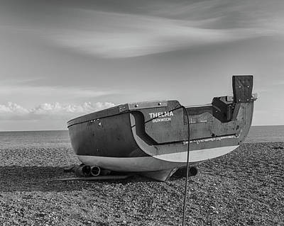 Photograph - Boat On The Beach In B And W by Leah Palmer