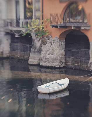 Lake Como Digital Art - Boat On The Lakefront  by Bridget Kenny