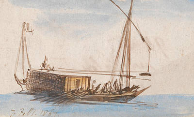 Drawing - Boat On The Nile by Edward Lear
