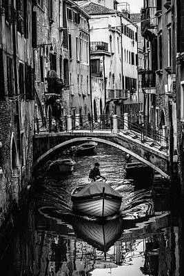 Boat On The River-bw Art Print