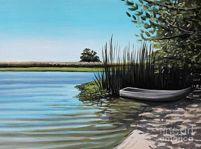 Painting - Boat On The Shadowed Beach by Elizabeth Robinette Tyndall