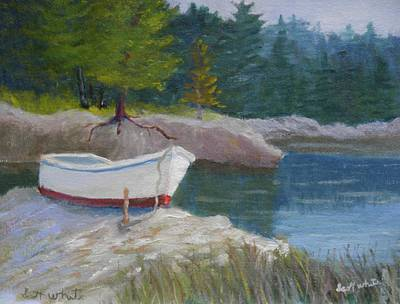 Boat On Tidal River Art Print