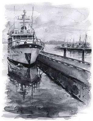 Monochrome Painting - Boat On Waterfront Marina Kirkland Washington by Olga Shvartsur