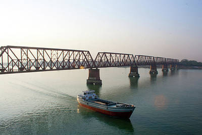 Built Structure Photograph - Boat Passing From Under Bridge by Manzur Anam Photography