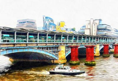 Photograph - Boat Passing Under Blackfriars Railway Bridge by Dorothy Berry-Lound