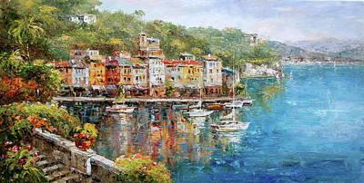 Portofino Italy Painting - Boat, Portofino, Italy Seascape by Luigi Paulini