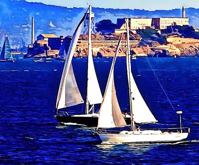 Boat Race At Alcatraz. Art Print by Douglas Coiner