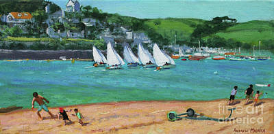 Beach Holiday Painting - Boat Race Salcombe by Andrew Macara