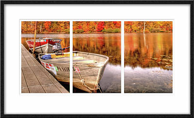 Row Boat Digital Art - Boat Ramp And Autumn Reflections  by Geraldine Scull