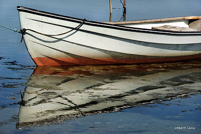 Boat Reflected Art Print by Robert Lacy