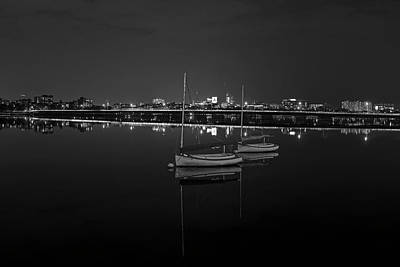 Photograph - Boat Reflections By The Mass Ave Bridge On The Charles River Boston Ma Black And White by Toby McGuire