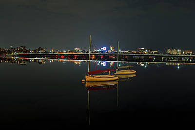 Photograph - Boat Reflections By The Mass Ave Bridge On The Charles River Boston Ma by Toby McGuire