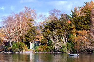 Photograph - Boat Shed On The Waikato River by Nicholas Blackwell