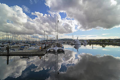 Photograph - Boat Slips At Anacortes Cap Sante Marina In Washington State by David Gn