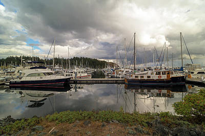 Outdoors Photograph - Boat Slips At Anacortes Marina In Washington State by David Gn