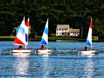 Photograph - Boat - Striped Sails by Susan Savad