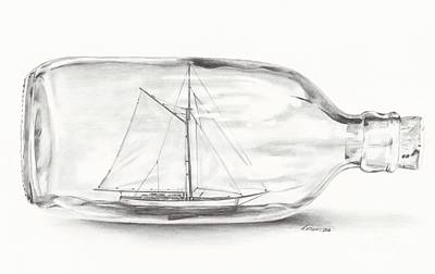 Drawing - Boat Stuck In A Bottle by Meagan  Visser
