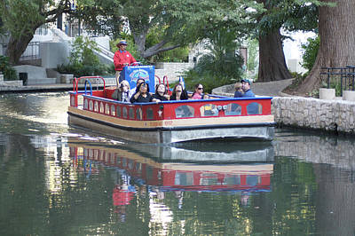 Israeli Flag - Boat tour on the San Antonio River by Carl Purcell
