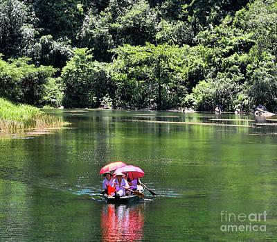 Photograph - Boat Tourist Tam Coc Vietnam  by Chuck Kuhn