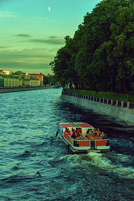 A Summer Evening Photograph - Boat Trips Along The Numerous Rivers And Canals Of The Evening St. Petersburg by George Westermak