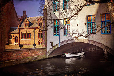 Boat Under A Little Bridge In Bruges  Art Print