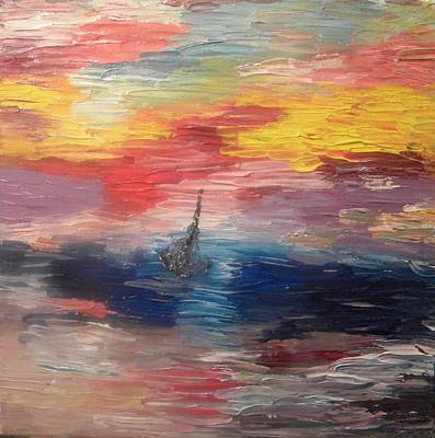 Pictori Romani Contemporani Painting - Boat Under Storm by Carmen Kolcsar