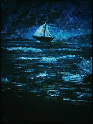 Nightsky Painting - Boat by Vladimir Spasov