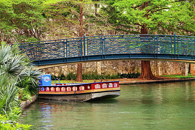 Photograph - Boat With Blue Bridge by Art Block Collections