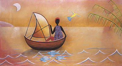 Boat With Blue Fish Art Print by Sally Appleby