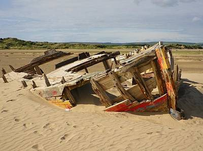 Photograph - Boat Wreck At Crow Point North Devon by Richard Brookes