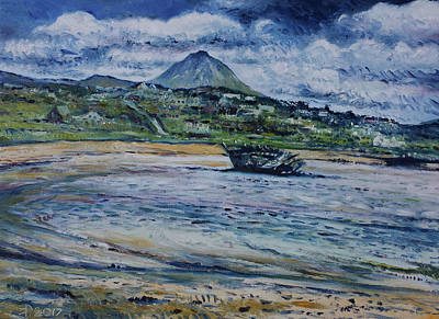 Painting - boat wreck at Macheraclogher Ireland 2017 by Enver Larney