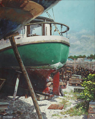 Painting - Boat Yard Boat 01 by Martin Davey