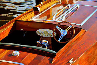 Cockpit Photograph - Wood Racing Boat Cockpit by David Lee Thompson