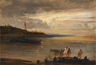 Alexei Savrasov Painting - Boaters By The Volga by Alexei Savrasov