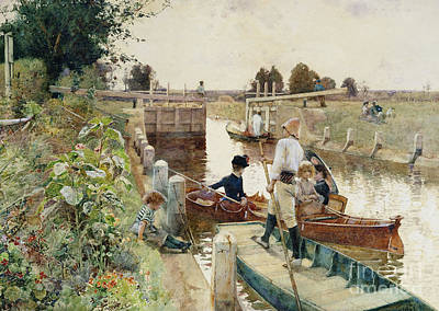 Boats In Water Painting - Boaters In A Lock On The Thames by Hector Caffieri