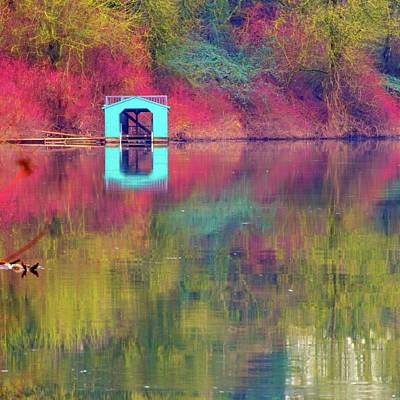 Photograph - Boathouse 20850 16x16x by Jerry Sodorff