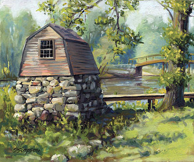 Concord Massachusetts Painting - Boathouse And Battle Bridge by Steven A Simpson