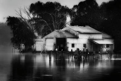 Boathouse Bw Art Print by Bill Wakeley